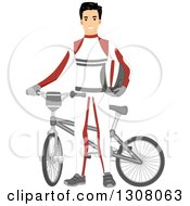 Clipart Of A Young Male BMX Cyclist In A Uniform Royalty Free Vector Illustration