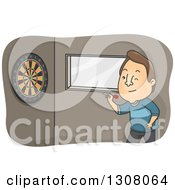 Clipart Of A Cartoon Brunette White Man Throwing Darts Royalty Free Vector Illustration by BNP Design Studio