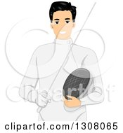 Handsome Young Male Fencer Holding A Stick And Mask
