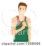 Clipart Of A Brunette White Athlete Wearing A Gold Medal Royalty Free Vector Illustration