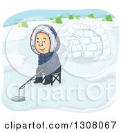 Clipart Of A Cartoon White Man Ice Fishing Near An Igloo Royalty Free Vector Illustration by BNP Design Studio