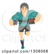 Clipart Of A Beefy Caucasian Rugby Player Running Royalty Free Vector Illustration