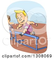 Clipart Of A Cartoon Blond White Track And Field Athlete Leaping Over A Hurdle Royalty Free Vector Illustration