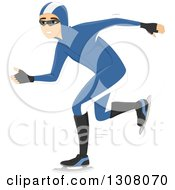 Clipart Of A White Male Speed Skater Royalty Free Vector Illustration by BNP Design Studio