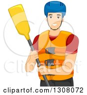 Clipart Of A Happy Young White Man With Rafting Gear Royalty Free Vector Illustration