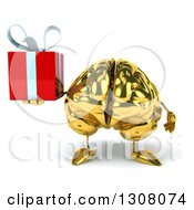 Clipart Of A 3d Gold Brain Character Holding A Gift Royalty Free Illustration