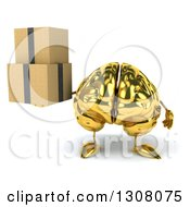 Clipart Of A 3d Gold Brain Character Holding Boxes Royalty Free Illustration
