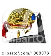 Clipart Of A 3d Gold Brain Super Hero Character Facing Right And Running On A Treadmill Royalty Free Illustration