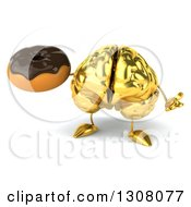 Clipart Of A 3d Gold Brain Character Shrugging And Holding A Chocolate Frosted Donut Royalty Free Illustration