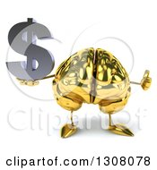 Clipart Of A 3d Gold Brain Character Holding A Thumb Up And Dollar Symbol Royalty Free Illustration