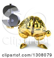 Clipart Of A 3d Gold Brain Character Holding And Pointing To A Dollar Symbol Royalty Free Illustration
