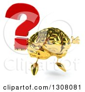 Clipart Of A 3d Gold Brain Character Facing Right Jumping And Holding A Question Mark Royalty Free Illustration