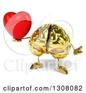 Clipart Of A 3d Gold Brain Character Shrugging And Holding A Love Heart Royalty Free Illustration