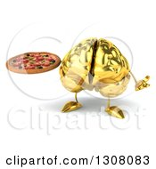 Clipart Of A 3d Gold Brain Character Shrugging And Holding A Pizza Royalty Free Illustration