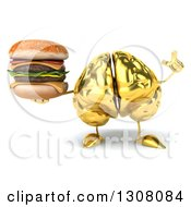 Clipart Of A 3d Gold Brain Character Holding Up A Finger And A Double Cheeseburger Royalty Free Illustration