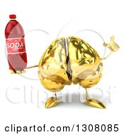 Clipart Of A 3d Gold Brain Character Holding Up A Finger And A Soda Bottle Royalty Free Illustration
