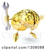 Clipart Of A 3d Gold Brain Character Facing Slightly Right Jumping And Holding A Wrench Royalty Free Illustration
