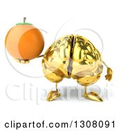 Clipart Of A 3d Gold Brain Character Holding An Orange Royalty Free Illustration