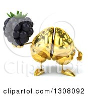 Clipart Of A 3d Gold Brain Character Holding A Blackberry Royalty Free Illustration