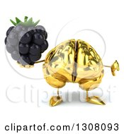 Clipart Of A 3d Gold Brain Character Holding A Thumb Down And A Blackberry Royalty Free Illustration