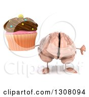 Clipart Of A 3d Brain Character Holding A Chocolate Frosted Cupcake And Thumb Down Royalty Free Illustration