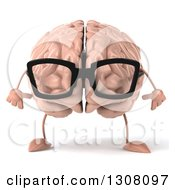 Clipart Of A 3d Bespectacled Brain Character Royalty Free Illustration