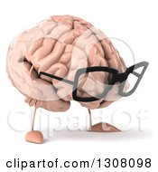 Clipart Of A 3d Bespectacled Brain Character Facing Slightly Right And Looking Down Royalty Free Illustration