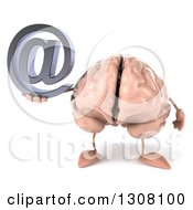 Clipart Of A 3d Brain Character Holding An Email Arobase At Symbol Royalty Free Illustration