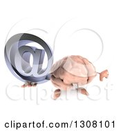Clipart Of A 3d Brain Character Holding Up A Thumb Down And An Email Arobase At Symbol Royalty Free Illustration