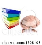 Clipart Of A 3d Brain Character Holding Up A Stack Of Books Royalty Free Illustration