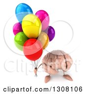 Clipart Of A 3d Brain Character Holding Up Party Balloons Royalty Free Illustration