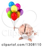 Clipart Of A 3d Brain Character Shrugging And Holding Party Balloons Royalty Free Illustration