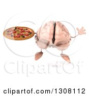 Clipart Of A 3d Brain Character Jumping And Holding A Pizza Royalty Free Illustration