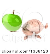 Clipart Of A 3d Brain Character Holding Up A Thumb And A Green Apple Royalty Free Illustration