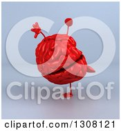 Clipart Of A 3d Red Brain Character Cartwheeling Over Gray Royalty Free Illustration