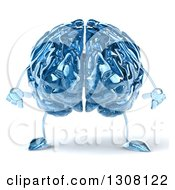 Clipart Of A 3d Blue Glass Brain Character Royalty Free Illustration