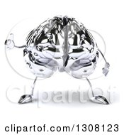 Clipart Of A 3d Chrome Brain Character Giving A Thumb Up Royalty Free Illustration by Julos