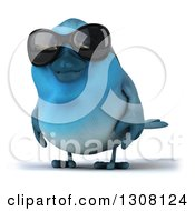 Clipart Of A 3d Bluebird Wearing Shades Royalty Free Illustration