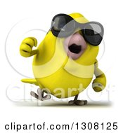 Clipart Of A 3d Yellow Bird Wearing Sunglasses And Walking Royalty Free Illustration