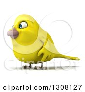 Clipart Of A 3d Yellow Bird Facing Left Royalty Free Illustration