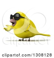 Clipart Of A 3d Yellow Bird Wearing Sunglasses Facing Left And Presenting Royalty Free Illustration