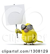 Clipart Of A 3d Yellow Bird Wearing Sunglasses And Holding Up A Blank Sign Royalty Free Illustration