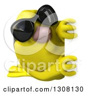 Clipart Of A 3d Yellow Bird Wearing Sunglasses And Looking Around A Sign Royalty Free Illustration