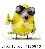 Clipart Of A 3d Yellow Bird Wearing Sunglasses And Giving A Thumb Up Royalty Free Illustration