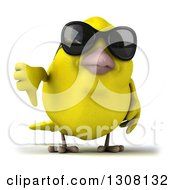 Clipart Of A 3d Yellow Bird Wearing Sunglasses And Giving A Thumb Down Royalty Free Illustration