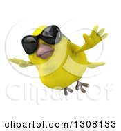 Clipart Of A 3d Yellow Bird Wearing Sunglasses And Flying Royalty Free Illustration