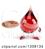 Clipart Of A 3d Hot Water Or Blood Drop Character Holding A Pizza Royalty Free Illustration