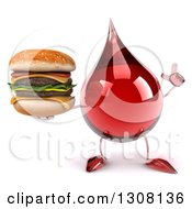 Clipart Of A 3d Hot Water Or Blood Drop Character Holding Up A Finger And A Double Cheeseburger Royalty Free Illustration