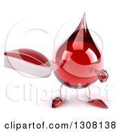 Clipart Of A 3d Hot Water Or Blood Drop Character Holding And Pointing To A Beef Steak Royalty Free Illustration
