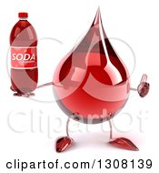 Clipart Of A 3d Hot Water Or Blood Drop Character Holding A Thumb Up And A Soda Bottle Royalty Free Illustration